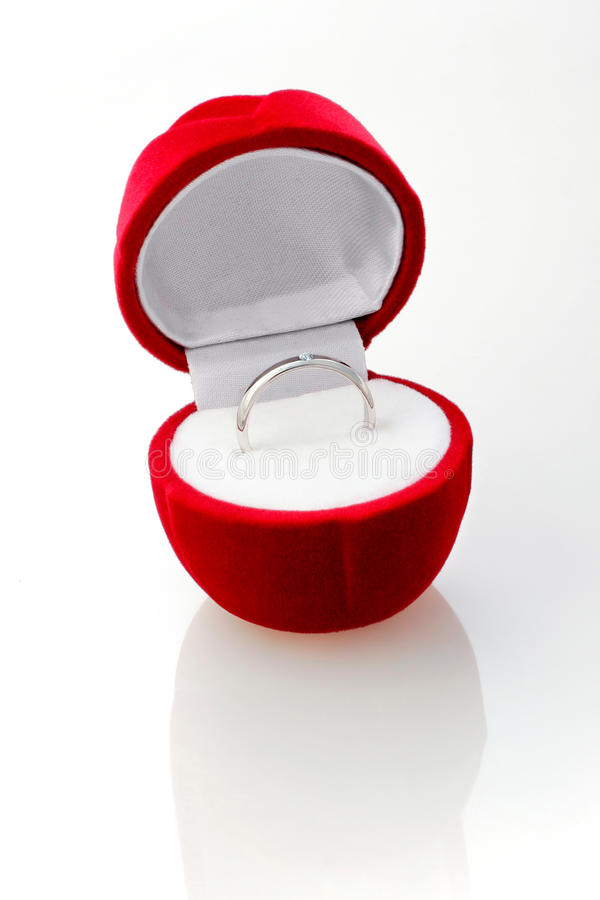Free Diamond Ring In The Red Box. Stock Image - 9698811
