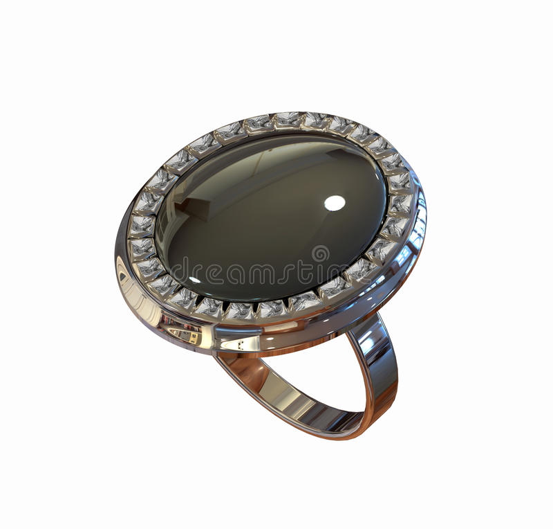 Free Diamond Ring Isolated On White Royalty Free Stock Image - 9771276
