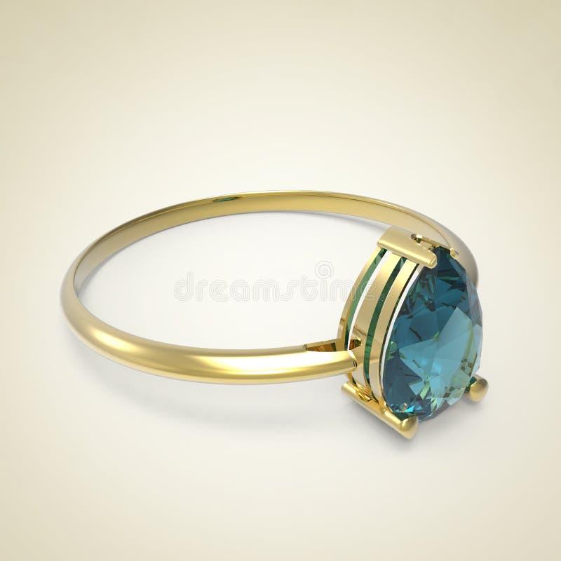 Diamond Ring på en ljus bakgrund illustration 3d vektor illustrationer