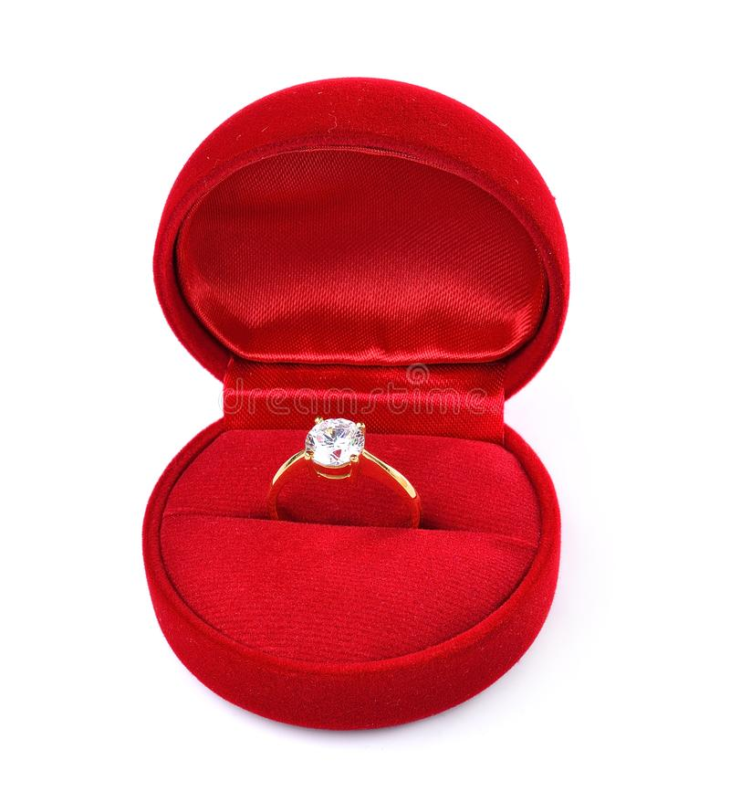 Diamond ring in red box isolated on white background stock image
