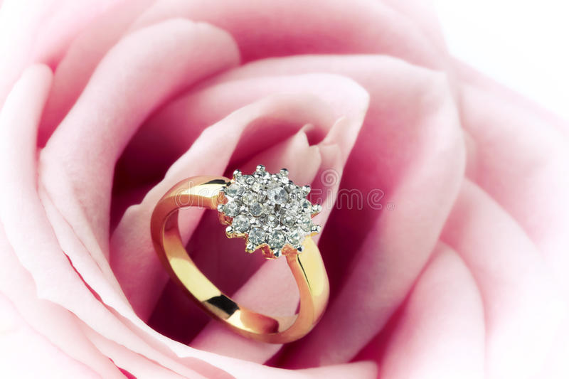 Diamond Ring and Rose. Diamond ring resting in a pink rose flower royalty free stock image