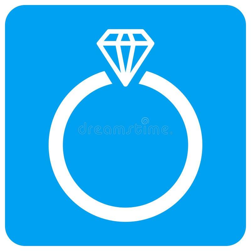 Diamond Ring Rounded Square Raster Icon ilustração stock