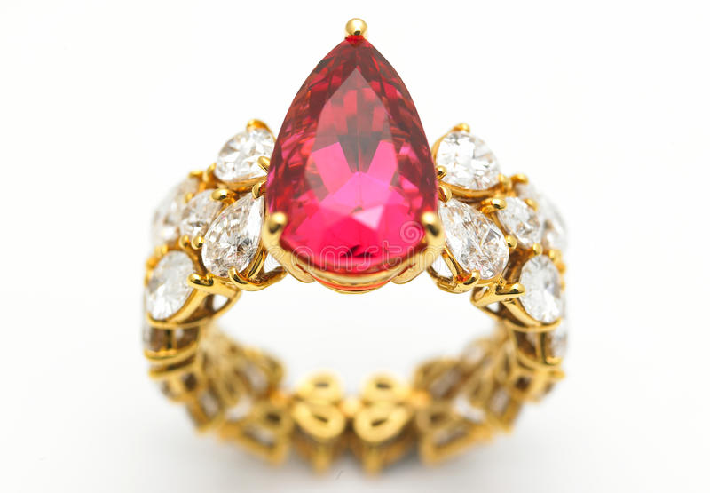 Diamond ring with ruby stock photography