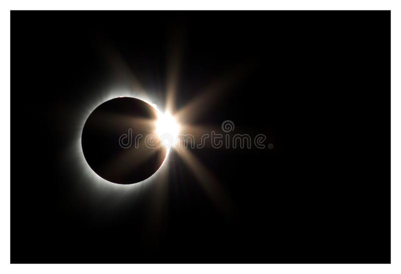 Diamond Ring Solar Eclipse, Oregon, 2017 stock foto