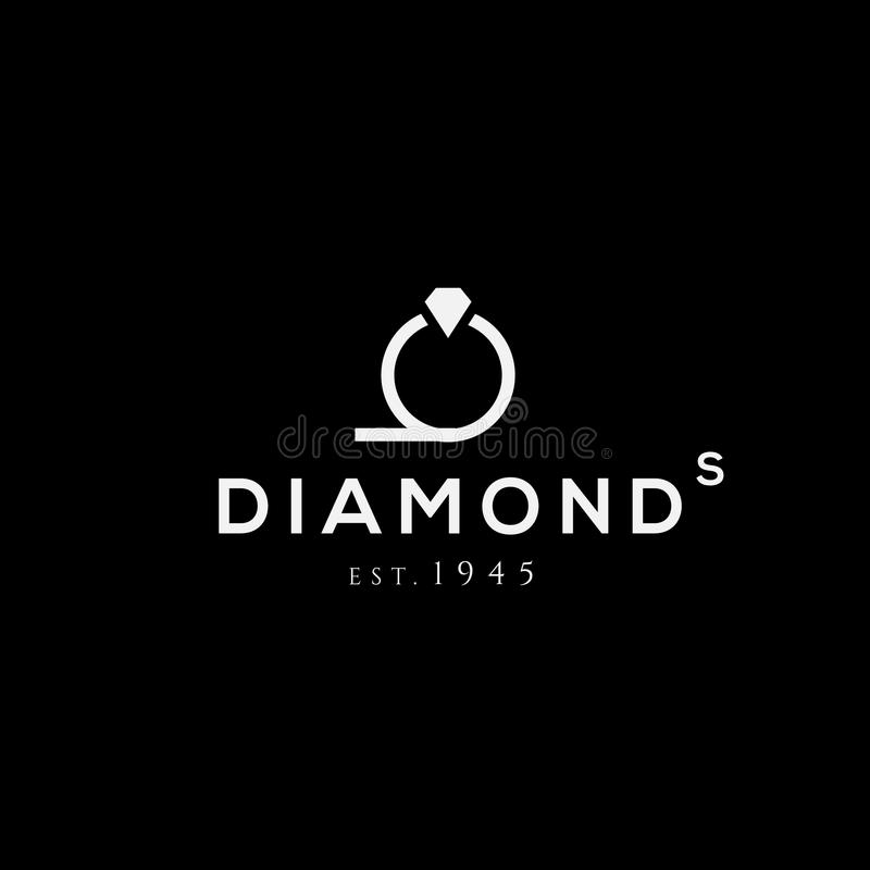 Diamond ring vector logo. Jewellery shop emblem. Fashion brand sign. Design element royalty free illustration