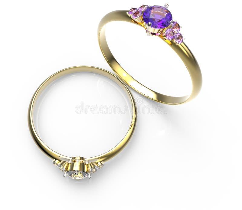 Diamond Rings 3D Illustratie royalty-vrije illustratie