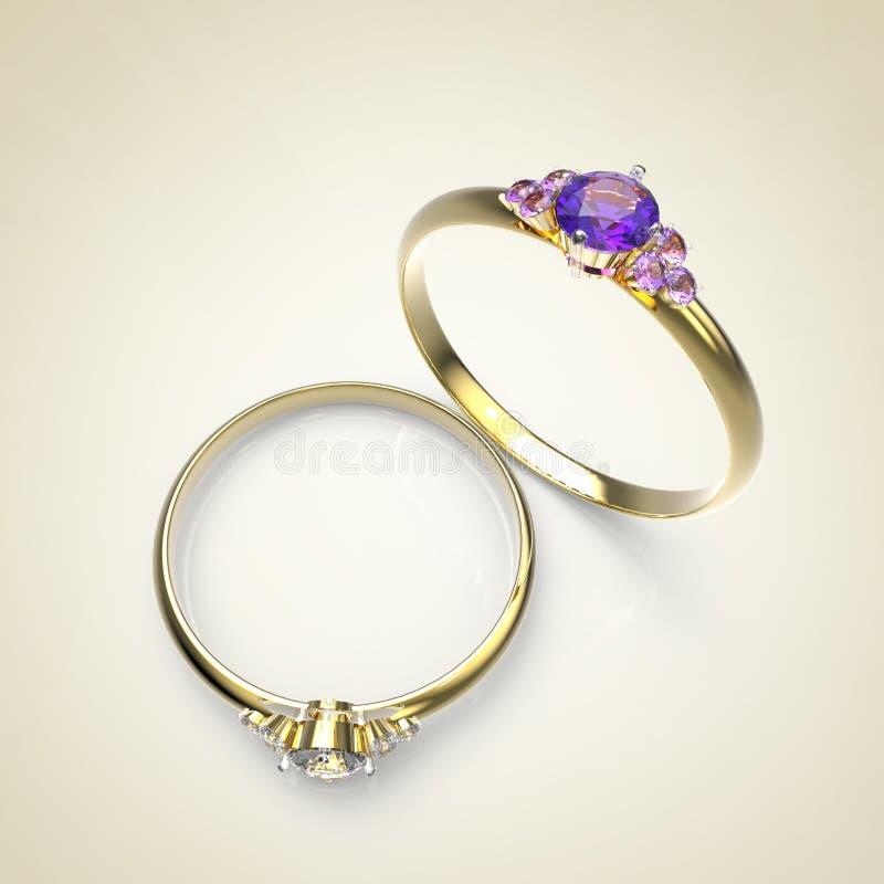 Diamond Rings Geïsoleerdi op lichte achtergrond royalty-vrije illustratie