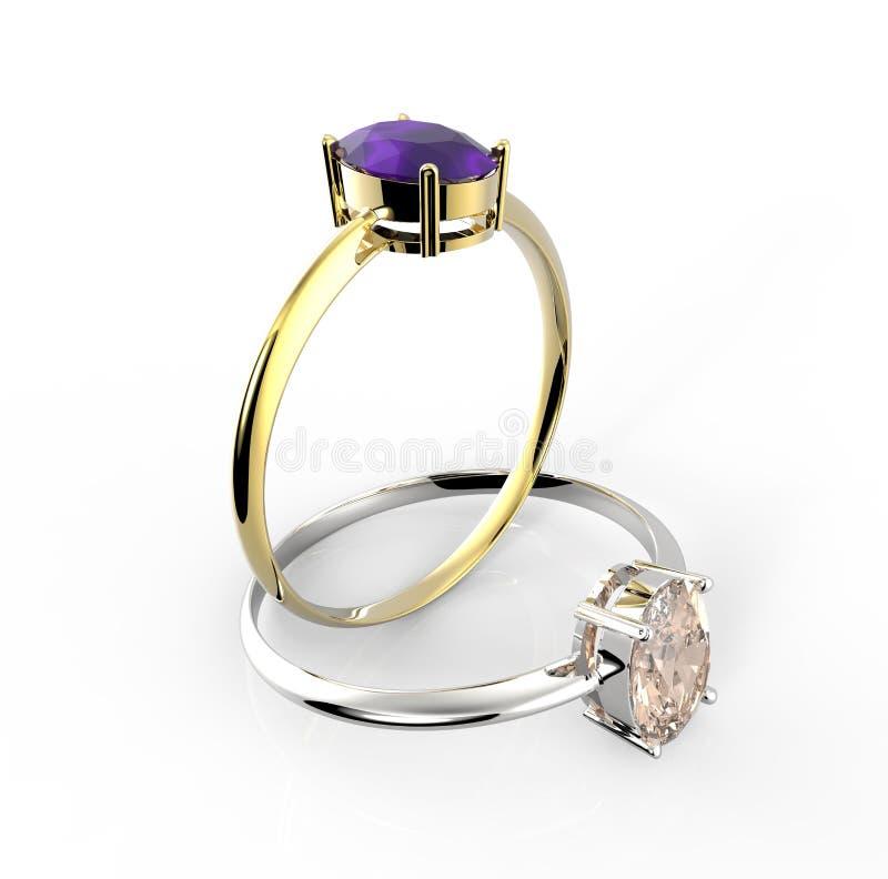 Diamond Rings Geïsoleerdj op witte achtergrond royalty-vrije illustratie