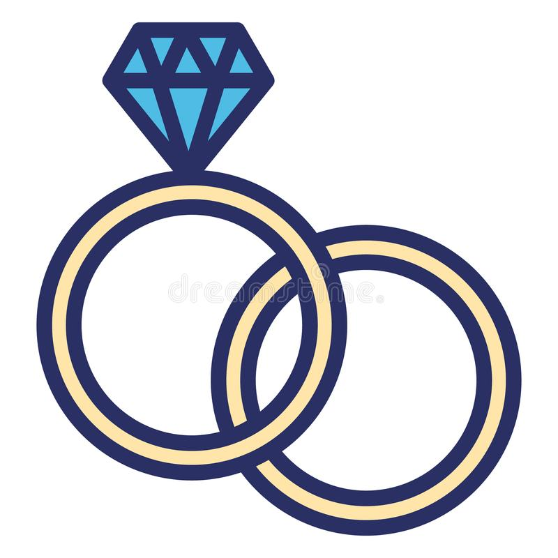Diamond rings, gem rings Isolated Vector icon which can be easily modified or edited royalty free illustration