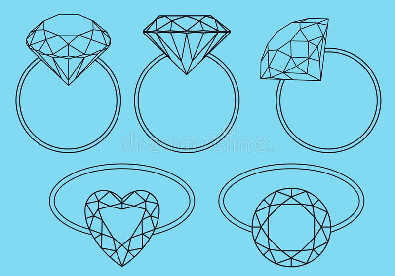 Download Diamond rings, vector set stock vector. Image of accessory - 30557245