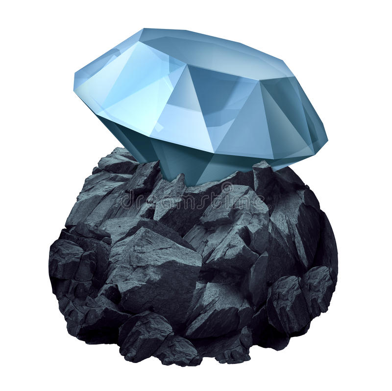 Diamond In The Rough. As a shiny precious gem hidden in a chunk of jagged rock as a business symbol and character metaphor for discovery of future potential for vector illustration