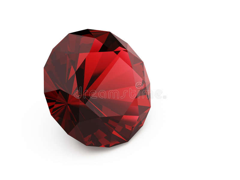 Diamond (ruby). A close up of a diamond over a red background stock illustration