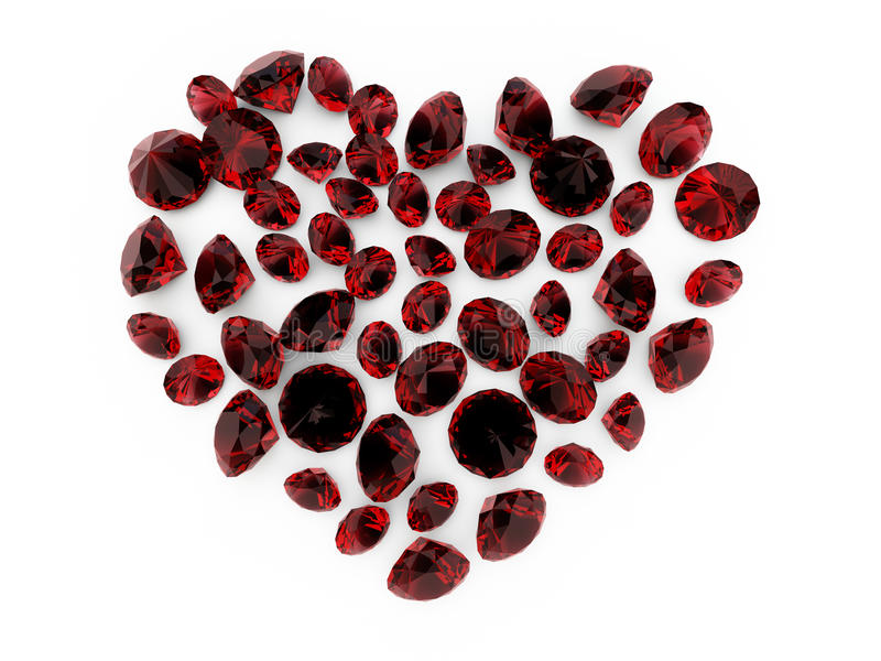 Diamond ruby heart. A close up of a diamond heart over a white background stock illustration