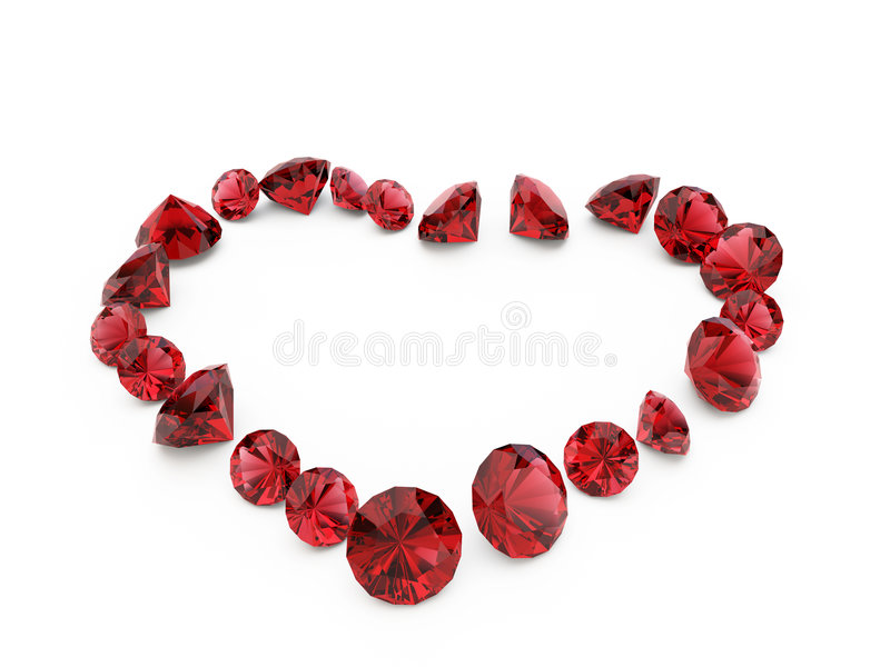Diamond ruby heart. A close up of a diamond heart over a white background vector illustration