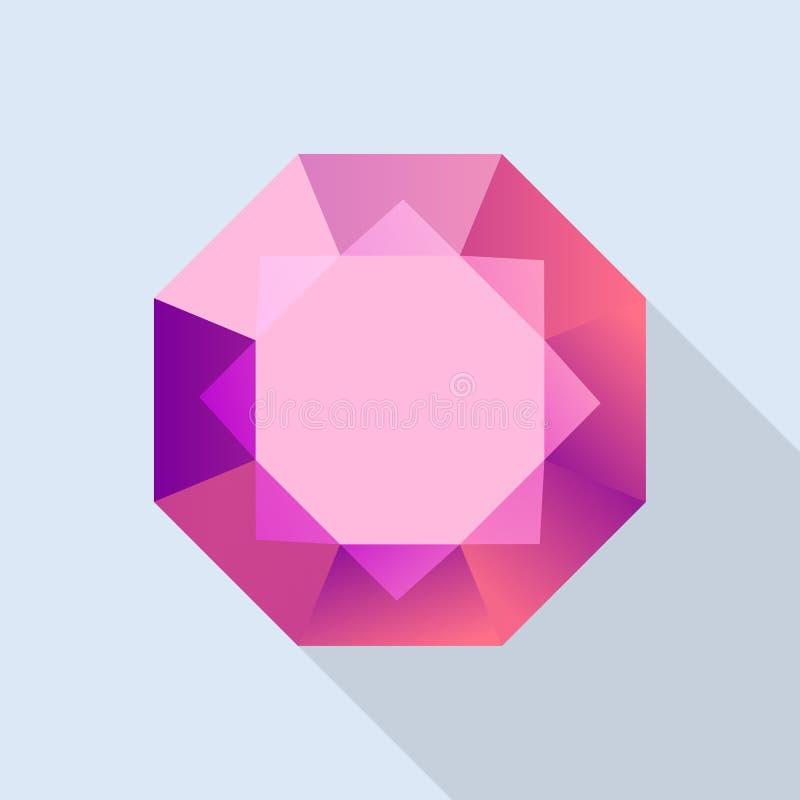 Diamond ruby icon, flat style. Diamond ruby icon. Flat illustration of diamond ruby vector icon for web design vector illustration