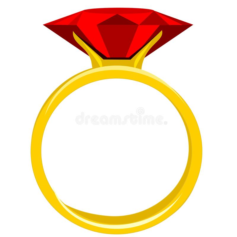 Diamond Ruby Ring. Ruby gemstone set in yellow gold jewelry clipart in flat color stock illustration