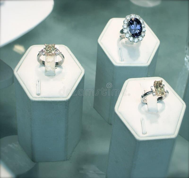 Diamond and Sapphire Rings stock photo