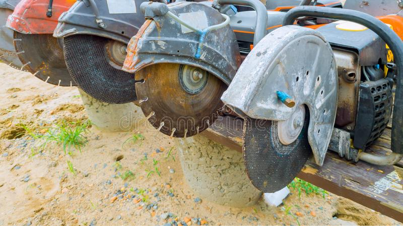 This diamond saw blade used on a concrete cutting machine has sharp teeth which makes clean cuts in concrete. stock image