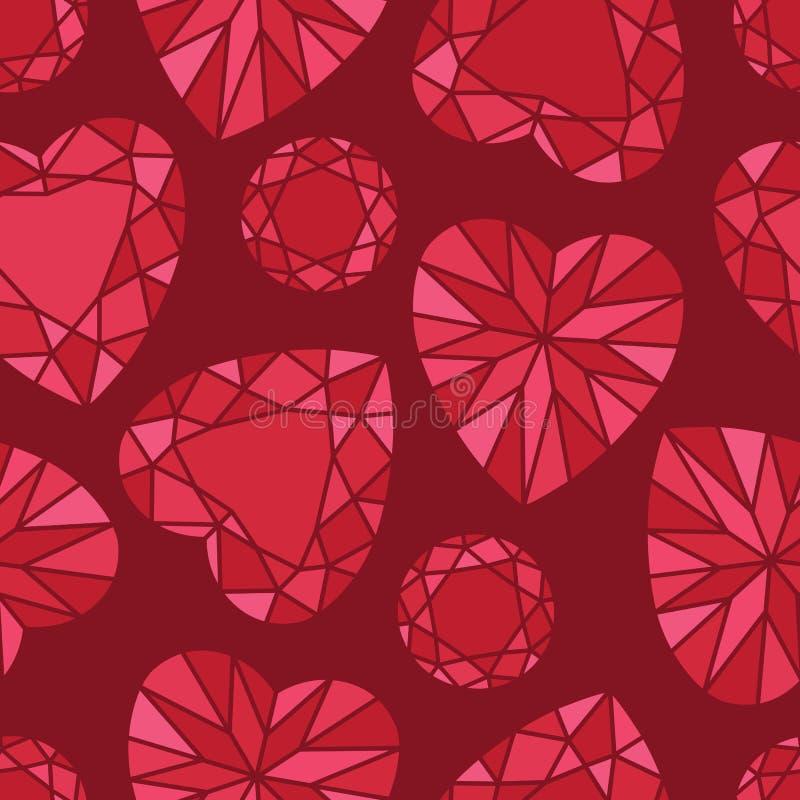 Diamond Seamless Pattern rouge romantique sur rouge illustration libre de droits