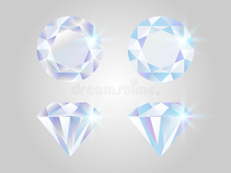 Diamond set. Realistic jewels isolated on white background. Shimmer stones top view. Luxury elements. Shining gemstones royalty free illustration