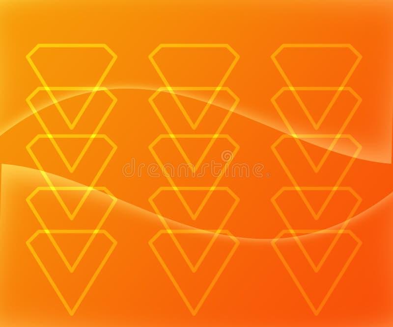 Diamond Shape Figures Abstract auf gelb-orangeem Hintergrund stock abbildung