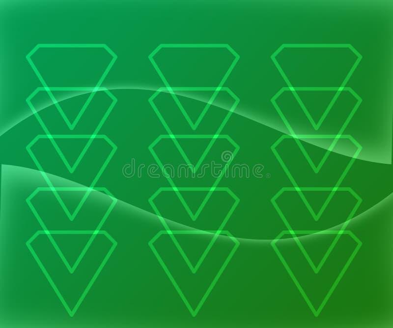 Diamond Shape Figures Abstract auf grünem Steigungs-Hintergrund stock abbildung