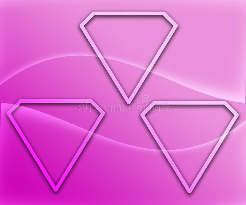 Diamond Shape Figures Abstract en el fondo de PinkGradient ilustración del vector