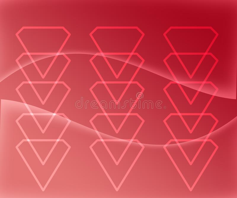 Diamond Shape Figures Abstract en fondo rojo de la pendiente stock de ilustración