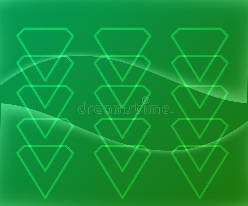 Diamond Shape Figures Abstract en fondo verde de la pendiente stock de ilustración
