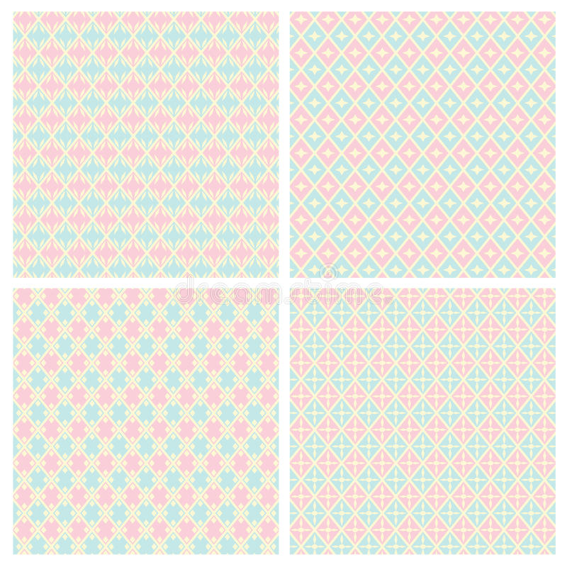 Diamond Shape Seamless Patterns pastel imagem de stock royalty free