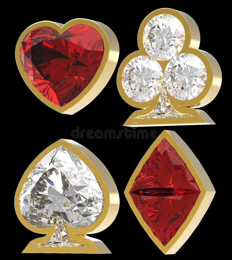 Download Diamond Shaped Card Suits With Golden Framing Stock Illustration - Image: 15130609