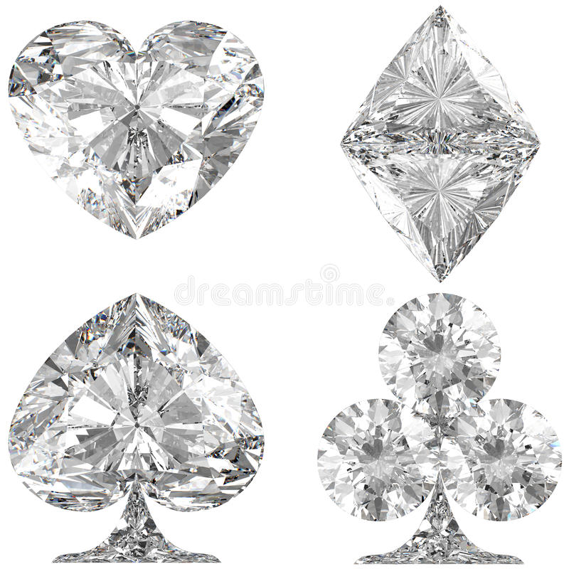Download Diamond Shaped Card Suits On White Stock Illustration - Image: 15865297