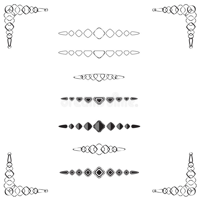 Diamond-shaped Page Dividers. A collection of page & text dividers with ornamental border, diamond in shape, black & white, vector illustration vector illustration