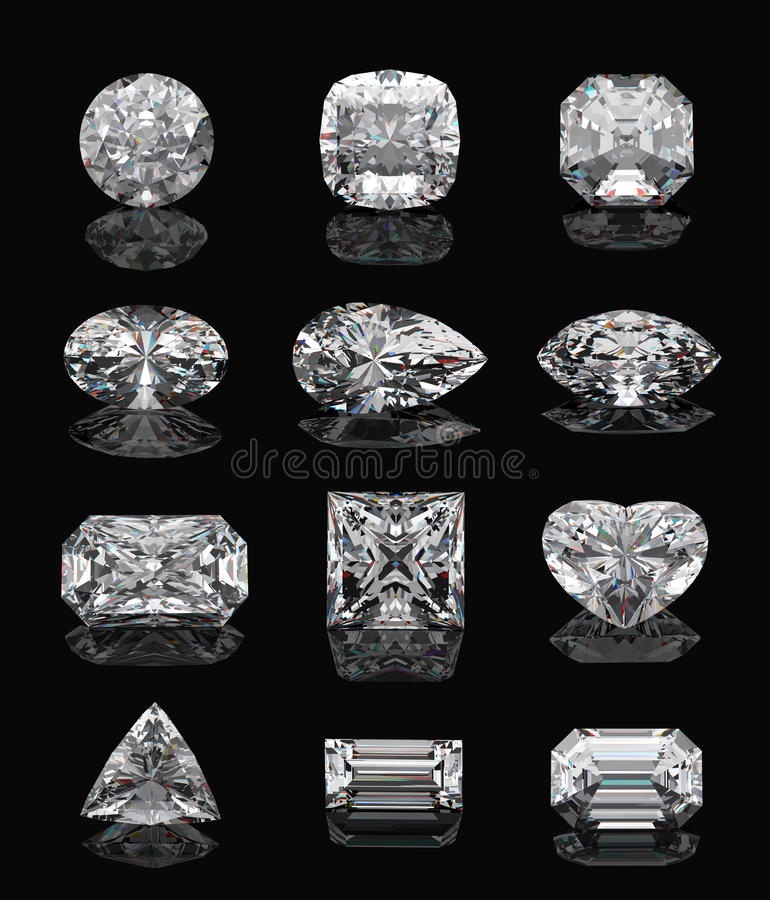 Diamond shapes on black. Diamond shapes on black mirror. 3d illustration vector illustration