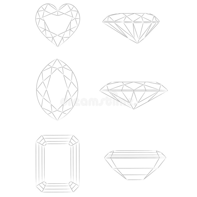 Diamond shapes vector: Heart - Marquise - Emerald royalty free illustration