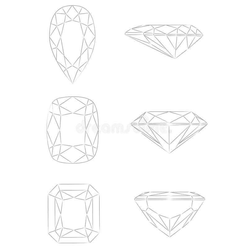Diamond shapes vector: Pear - Cushion - Radiant. Illustrations of some diamond shapes and cut (+ vector EPS file): Pear Cushion Radiant if you are interested royalty free illustration