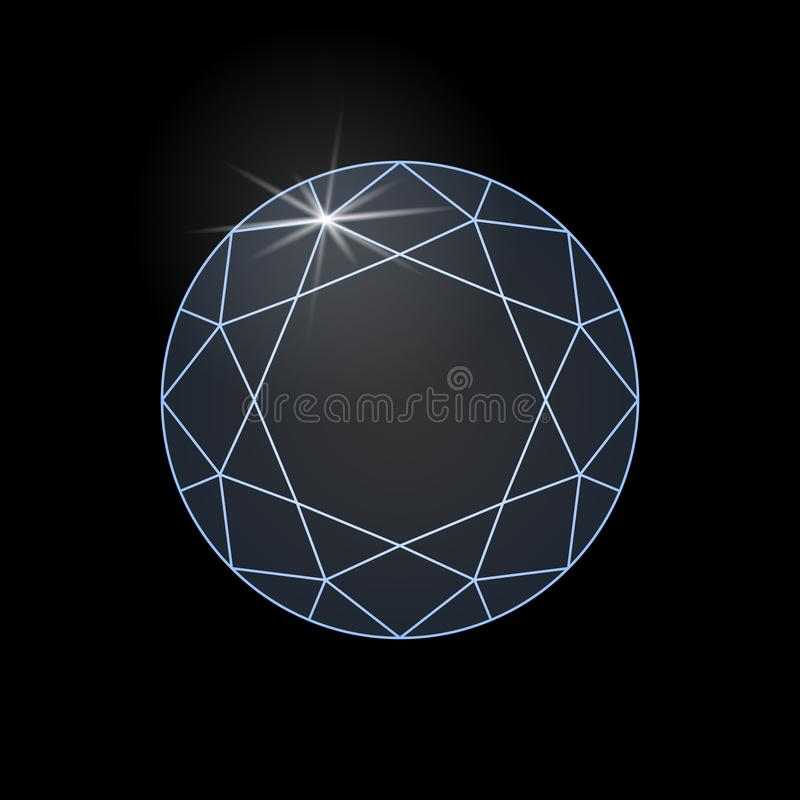 Diamond shine graphic sign isolated on black background vector illustration