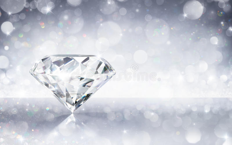Diamond In Shiny Background. 3d illustration Rendering royalty free stock images