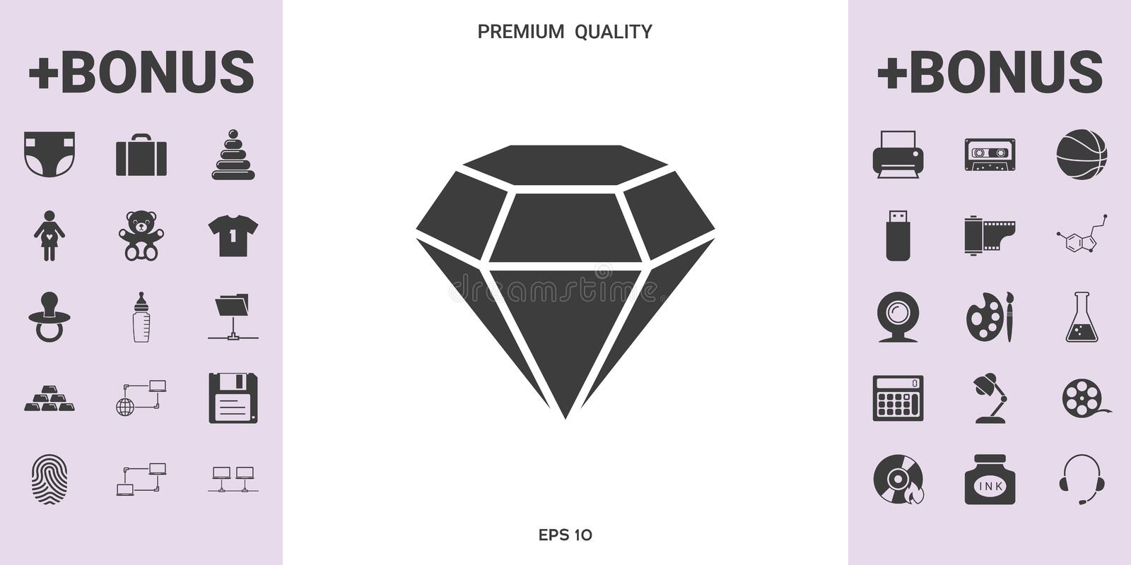 Diamond sign. Jewelry symbol. Gem stone. Flat simple design. Element for your design vector illustration