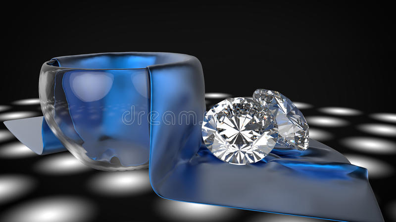 Diamond on silk. Cover the glass royalty free illustration