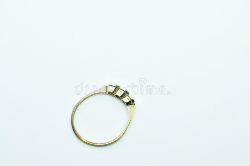 diamond silver ring arranging on white background stock photography