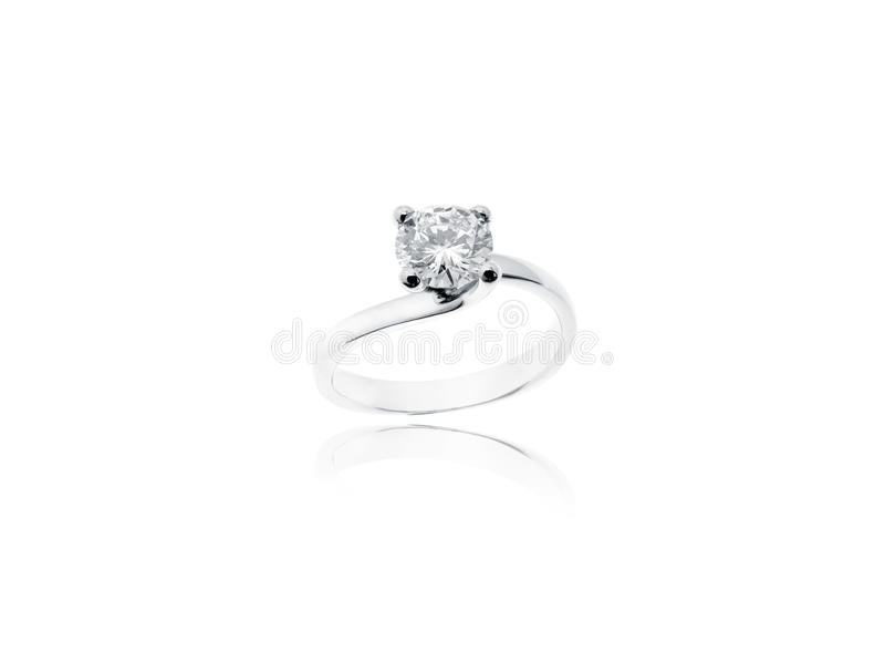Diamond solitaire jewelry ring isolated on white background royalty free stock photo