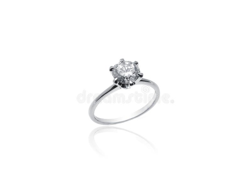 Diamond Solitaire Ring in platina royalty-vrije stock foto