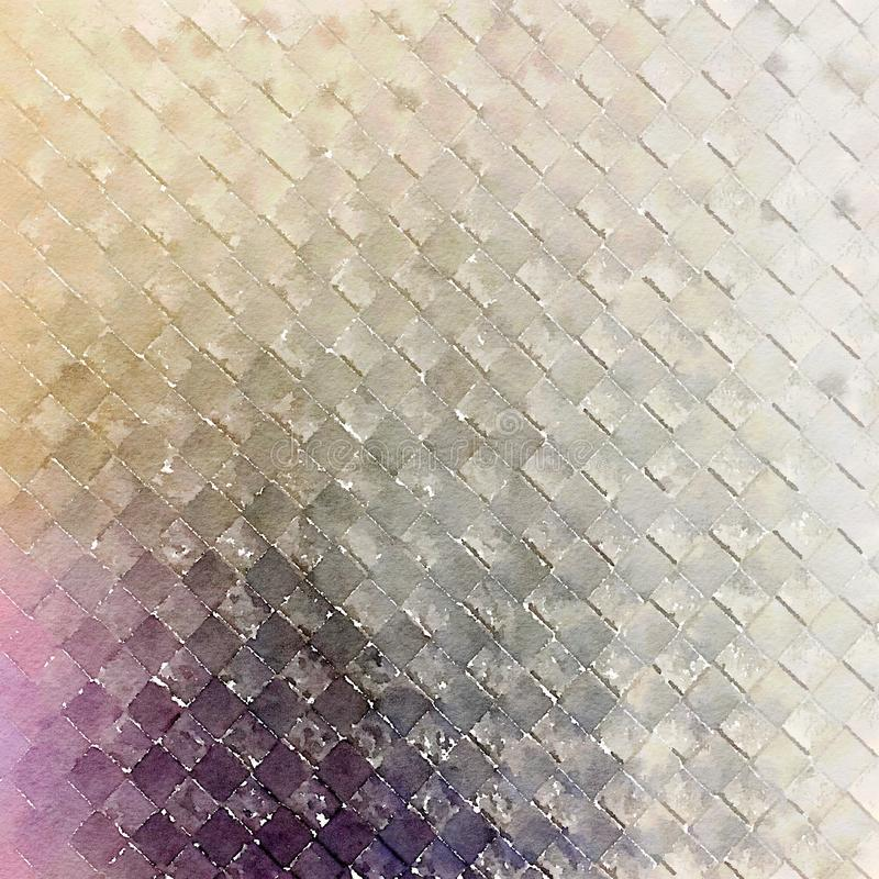 Diamond squares abstract watercolor minimalist wall art. Linear abstract watercolor minimalist wall art in silver grey and purple stock photos