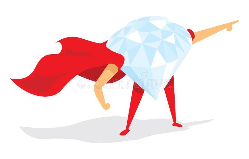 Diamond super hero standing with cape. Cartoon illustration of super hero diamond with cape vector illustration