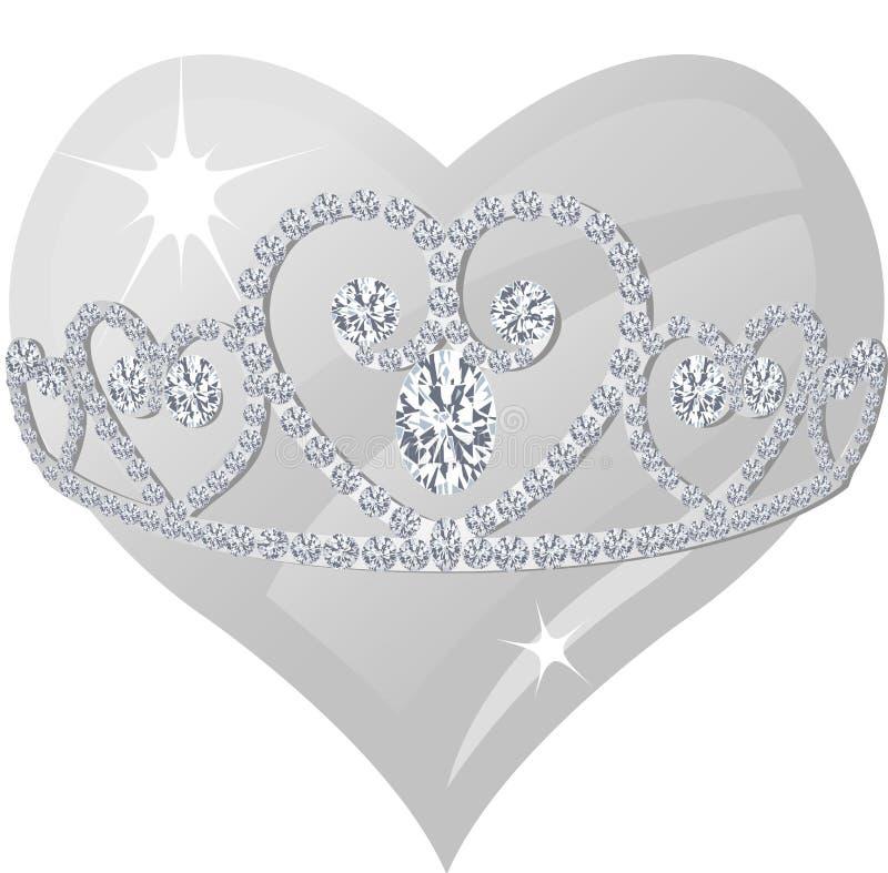 Diamond Tiara and Crystal Heart vector illustration
