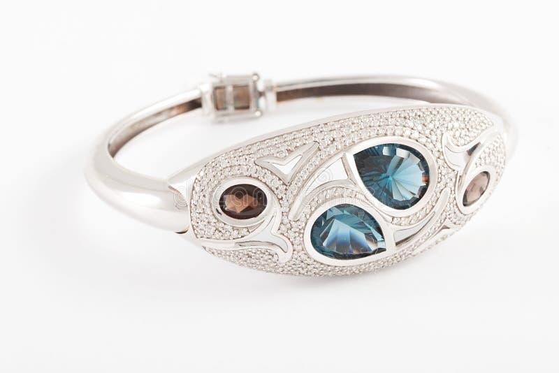 Diamond and topaz bracelet stock photography
