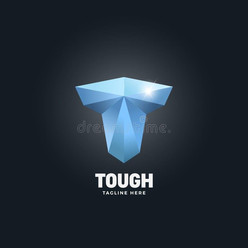 Diamond Tough Letter T Emblema, segno o Logo Template astratto di vettore Simbolo di forza Siluetta vigorosa del torso illustrazione vettoriale
