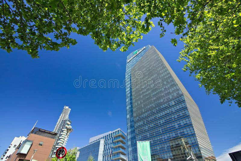 Diamond tower in Milano, modern buildings with curtain wall faca royalty free stock photo