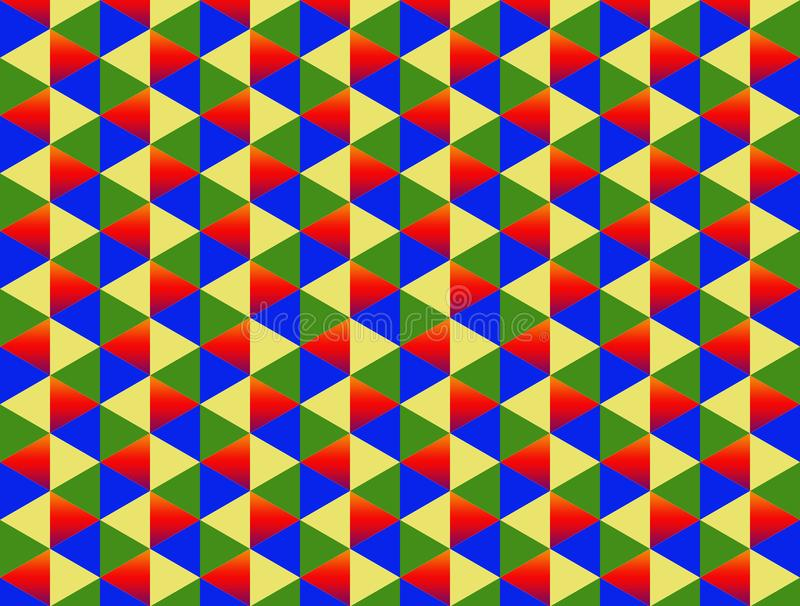 Diamond two color red yellow green blue triangle background pattern colorful endless stock illustration